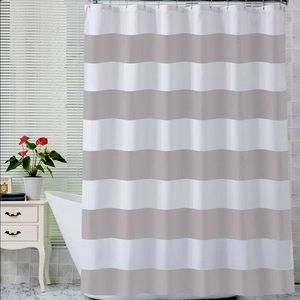 NWT FABRIC SHOWER CURTAIN GRAY AND WHITE STRIPED